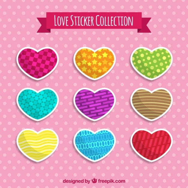 Decorative heart shaped stickers in flat design free vector