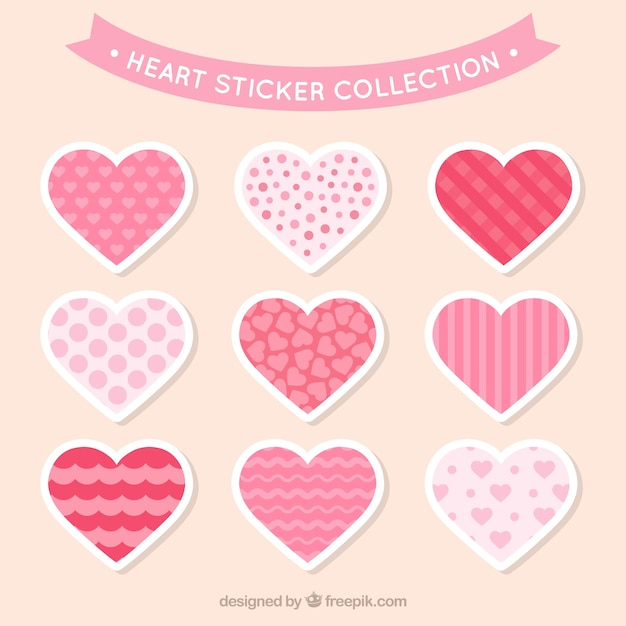 Decorative heart stickers with fantastic designs free vector
