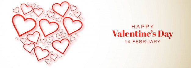 Decorative heart valentines day card banner design Free Vector