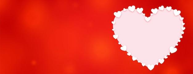 День святого валентина декоративное сердце красное знамя Бесплатные векторы