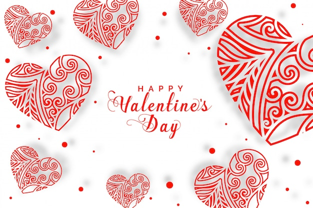 Decorative hearts background for valentines day greeting card Free Vector