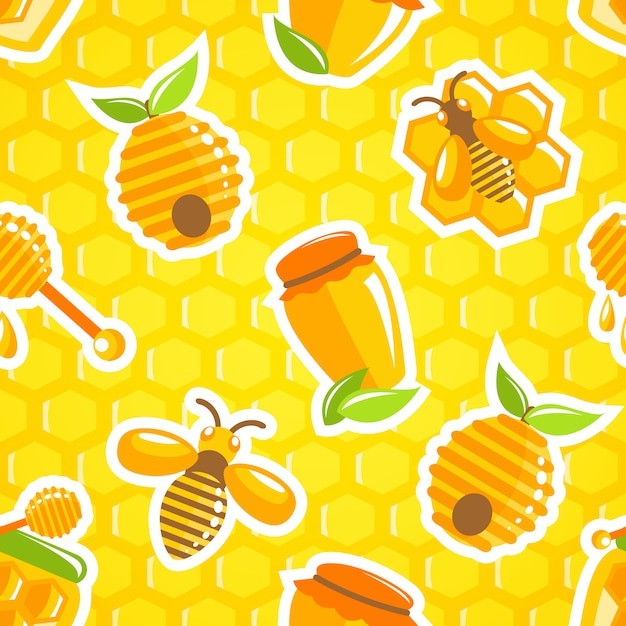 Decorative honey food jar hive bumble bee and dipper with honeycomb seamless pattern vector illustration Free Vector