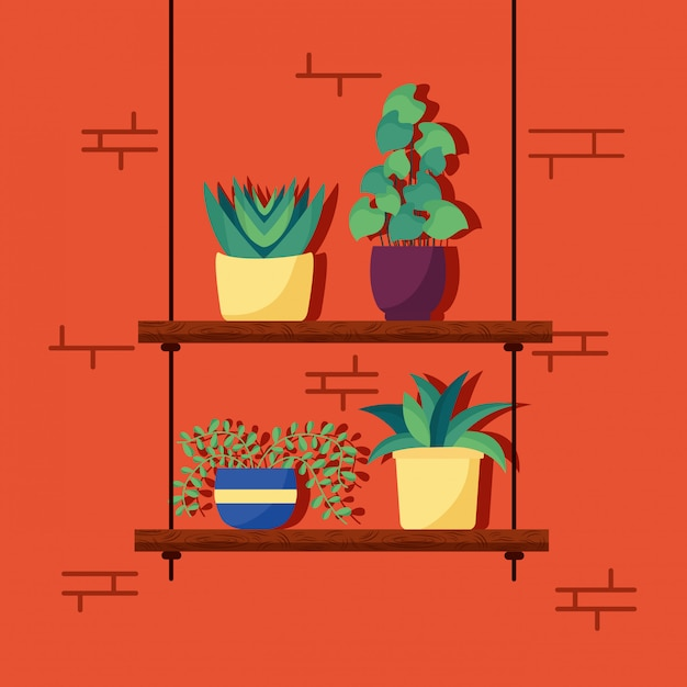 Decorative house plants interior design Free Vector