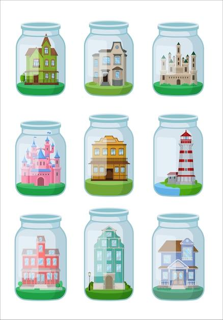 Декоративные дома в стеклянной банке на белом фоне. Premium векторы