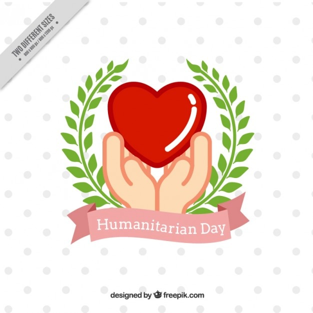 Decorative humanitarian day background with hands and laurel wreath