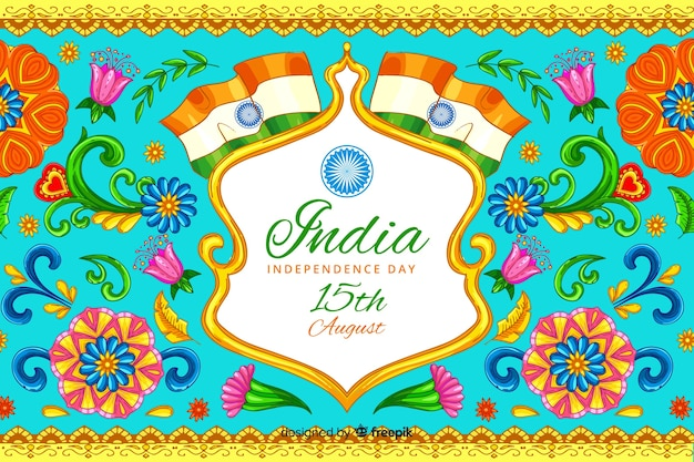 Decorative indian independence day background Free Vector