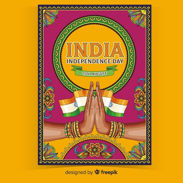Decorative indian independence day poster Free Vector