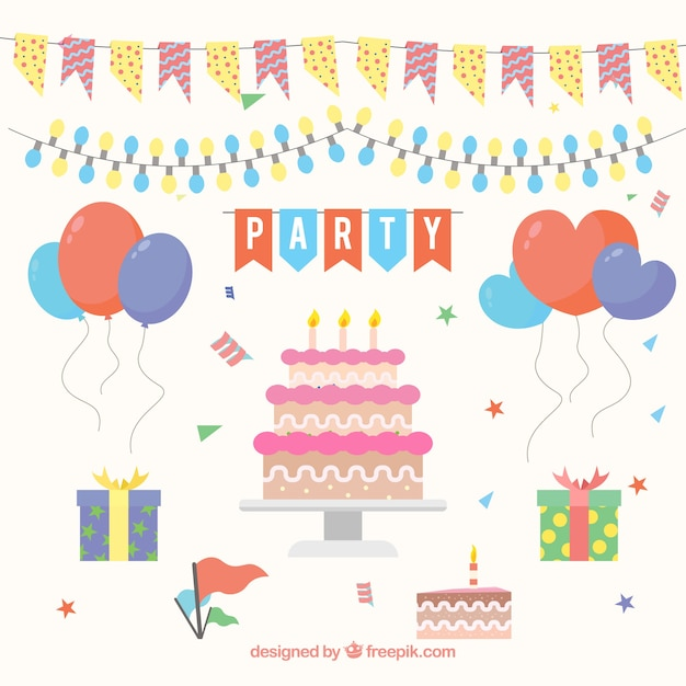 Decorative Items Ready For Birthday Party Free Vector