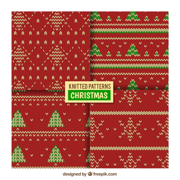 Christmas Knitting Patterns Free Download : Decorative knitted christmas patterns vector free download