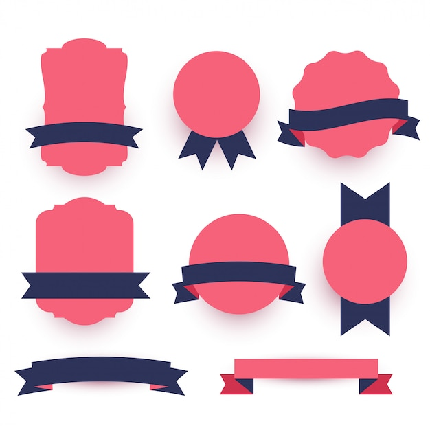 Decorative labels and ribbons pack Free Vector