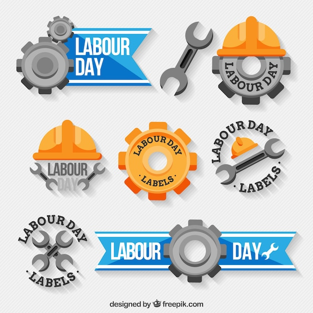 Decorative labels with great designs for labour day Free Vector