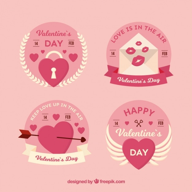 Decorative Labels With White Details For Valentine'S Day Vector