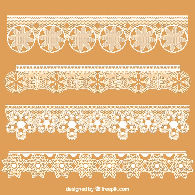 Decorative lace borders floral Vector | Free Download