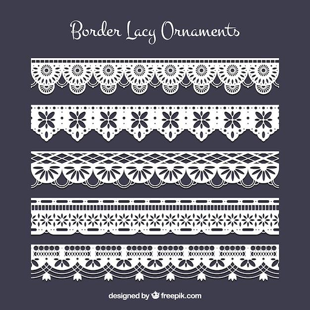 Decorative lace borders Premium Vector