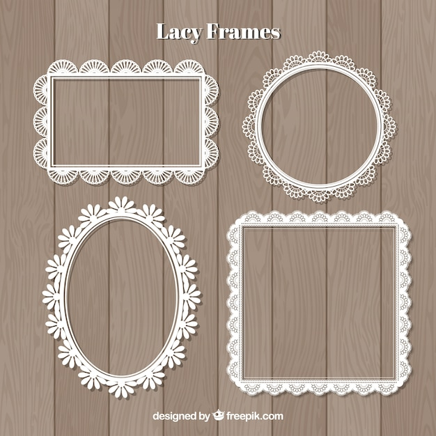 Decorative lace frames set Free Vector