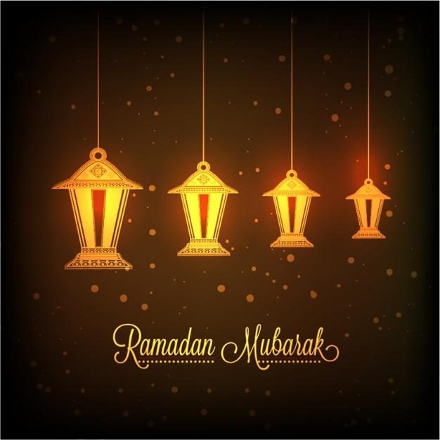decorative lanterns background for ramadan mubarak vector
