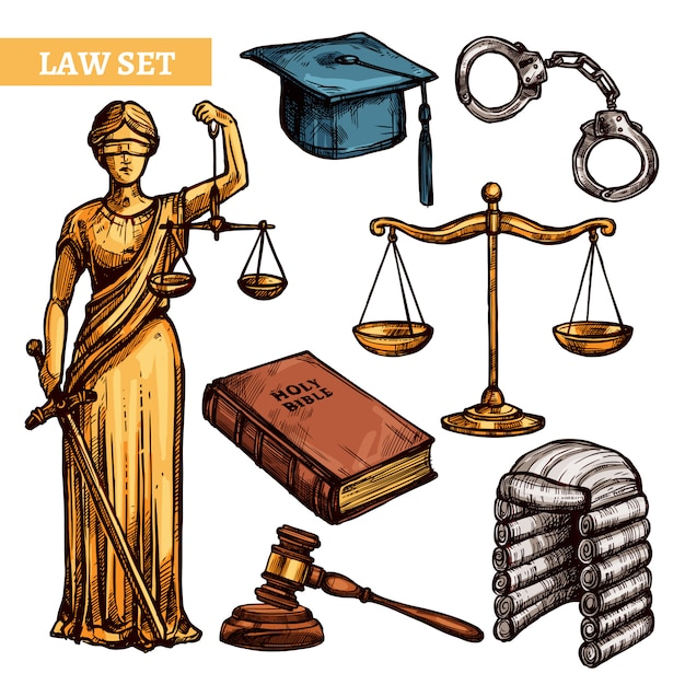 Decorative law set Free Vector