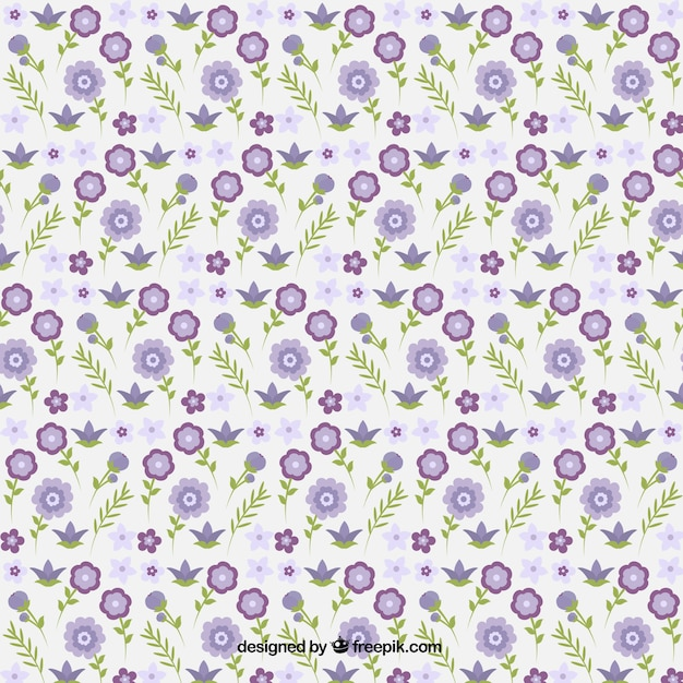 Decorative little purple flowers with leaves\ pattern