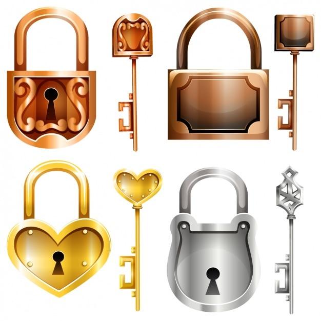 Decorative locks collection Premium Vector