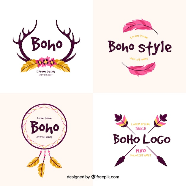 Decorative logos with ethnic elements Free Vector
