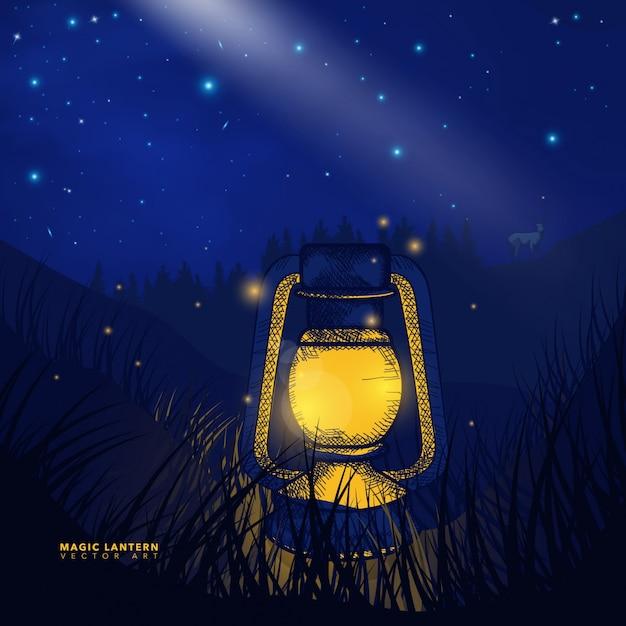 Decorative magical lantern background Premium Vector