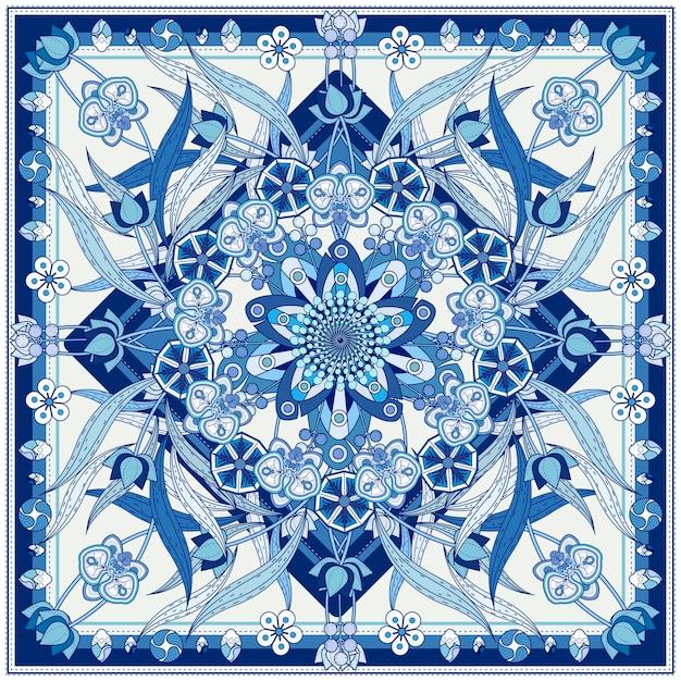 蘭と幾何学的な要素を持つ装飾的な曼荼羅の背景デザイン Premiumベクター