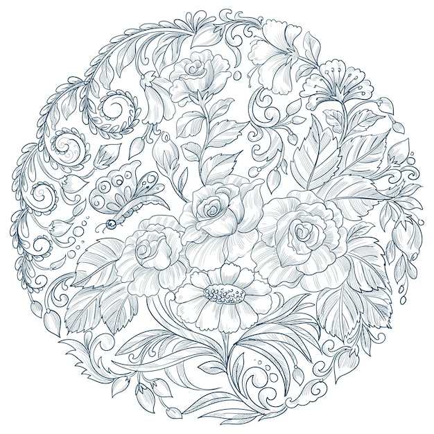 Decorative mandala circular floral design Free Vector