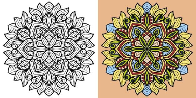 大人と子供のための装飾的な曼荼羅の塗り絵ページ Premiumベクター