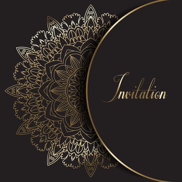Decorative mandala design invitation Free Vector