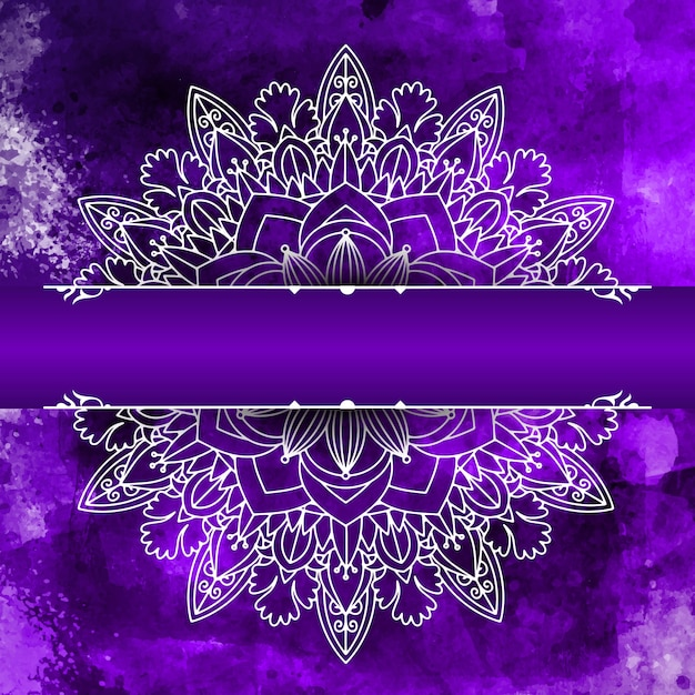 Decorative mandala design on a watercolour background Free Vector