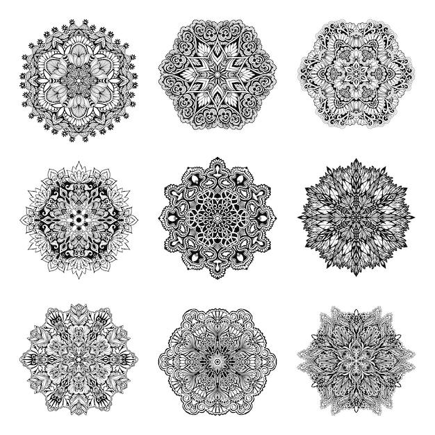 Набор декоративных мандал Бесплатные векторы