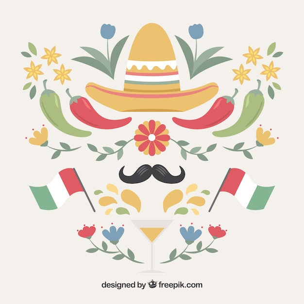 Decorative mexico elements set Free Vector