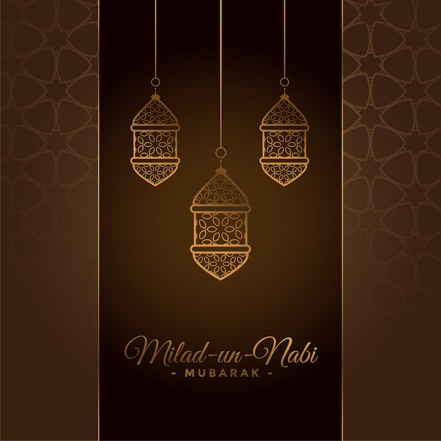 Decorative milad un nabi festival card Free Vector