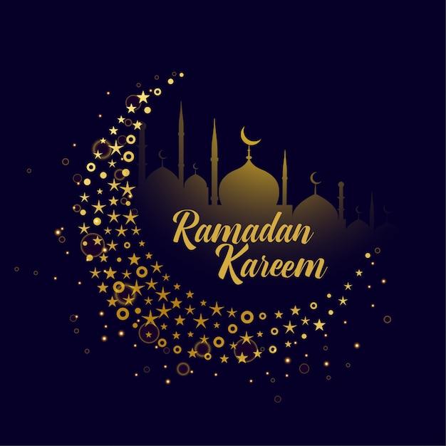 Decorative moon design ramadan kareem background Free Vector