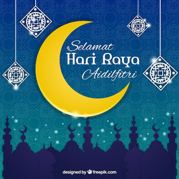 Decorative moon eid al-adha background Vector | Free Download
