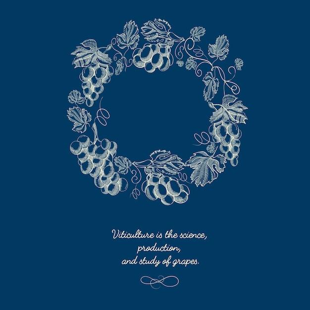 Sfondo naturale decorativo rotondo corona blu Vettore gratuito
