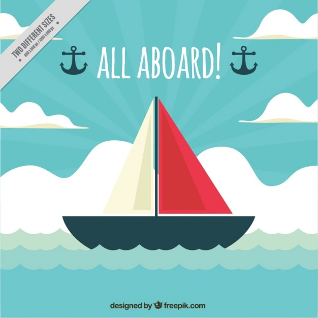 Decorative nautical background with ship in flat design Free Vector