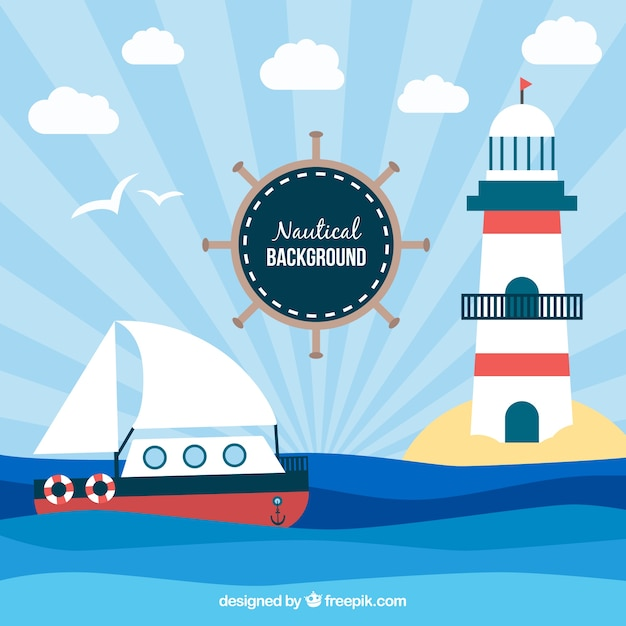 Decorative nautical background with ship and lighthouse Free Vector