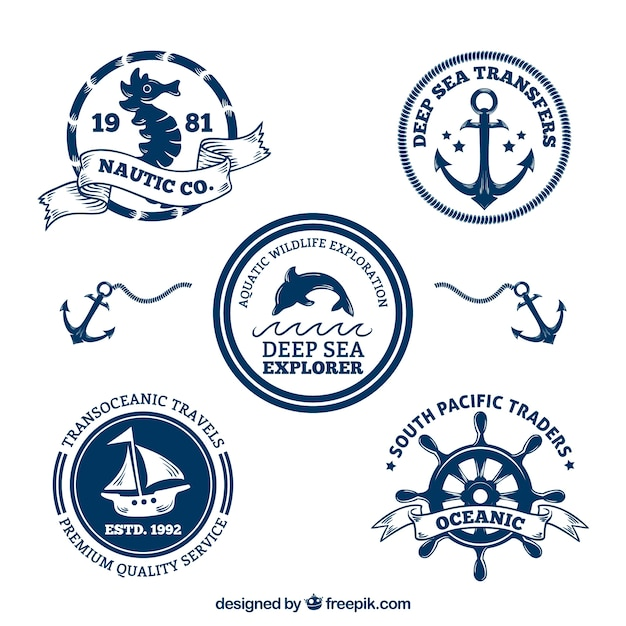Decorative nautical badges pack Free Vector