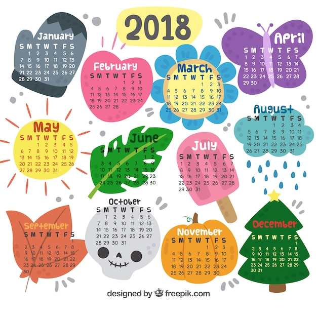 decorative new year 2018 calendar free vector