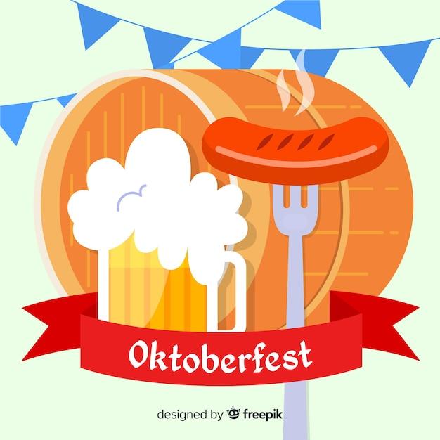 Design piatto sfondo oktoberfest decorativo Vettore gratuito