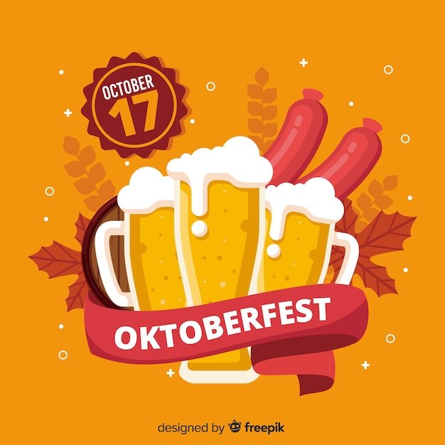 Decorative oktoberfest background flat design Free Vector