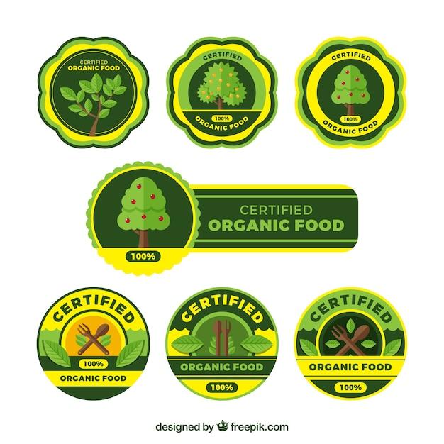 노란색 디테일의 장식 유기농 식품 스티커 무료 벡터