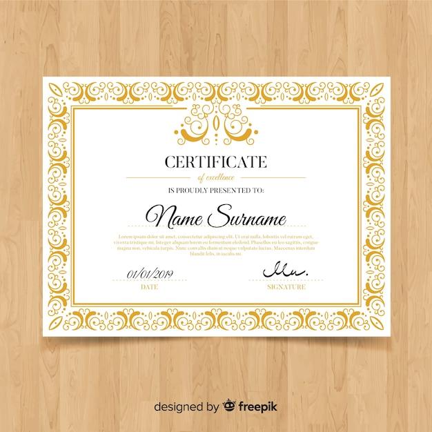 Decorative Ornamental Certificate Template Vector Free Download