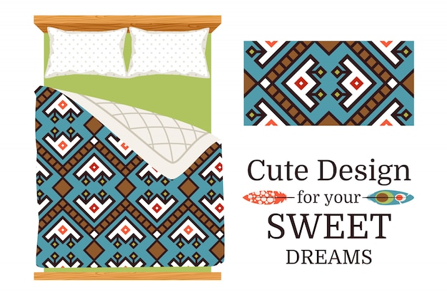 Decorative ornamental pattern sample and the example of usage as bed sheets. Premium Vector