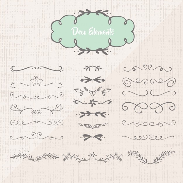 Decorative ornaments collection Free Vector