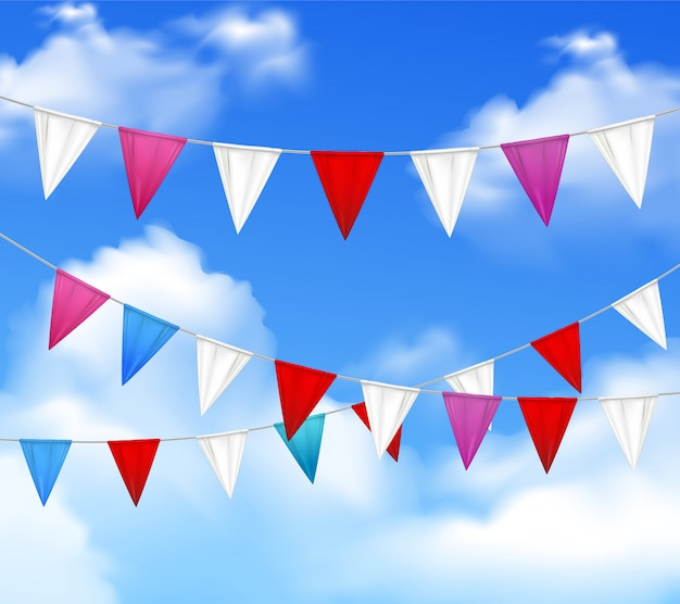 Decorative outdoor party slingers pennants red white pink against blue cloudy sky realistic closeup image Free Vector