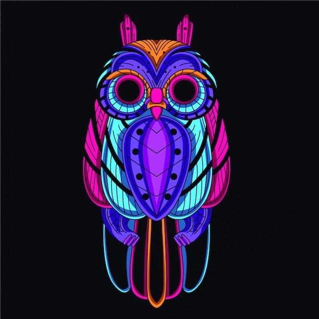 Decorative owl from glow neon color Premium Vector