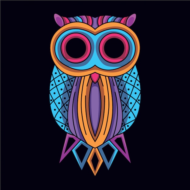 Decorative owl in glow neon color Premium Vector
