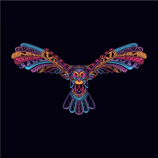 Decorative owl in glow neon color Premium Vector